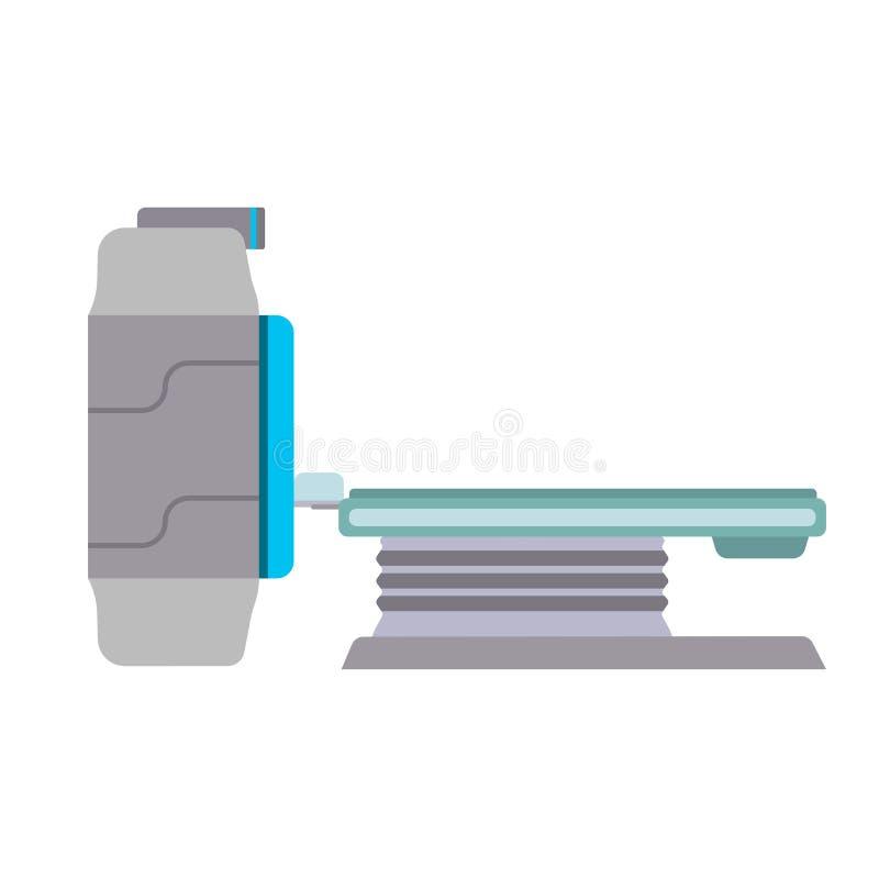 MRI-scanner van de machine de vector kenmerkende medische apparatuur Kliniek het vlakke ct x-ray de computerziekenhuis van het he stock illustratie
