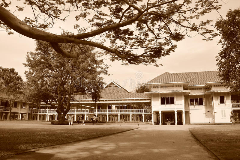 Mrigadayavan Palace in ChaAm Thailand in sepia. Mrigadayavan Palace in ChaAm Thailand in sepia tone royalty free stock image