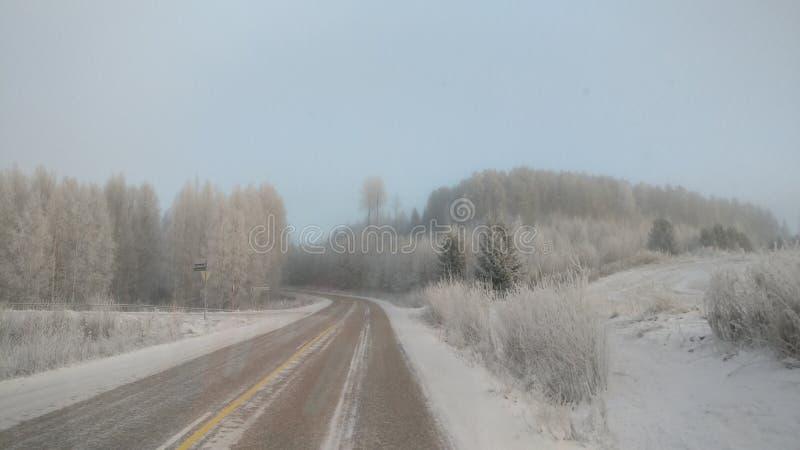 Mroźna droga i widok w Jämsä zdjęcie stock