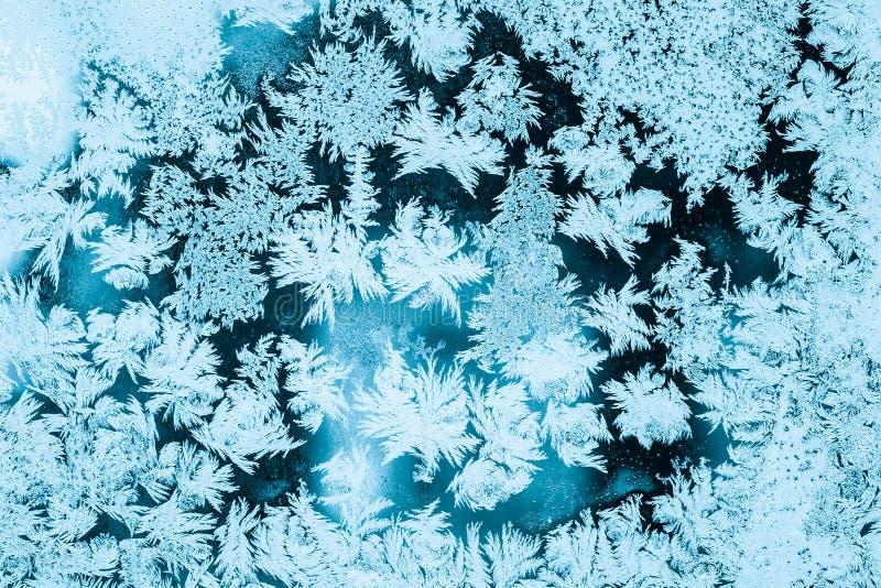 Mroźny szkło lodu tło, Naturalny wzór Zima abstrakta tło fotografia stock
