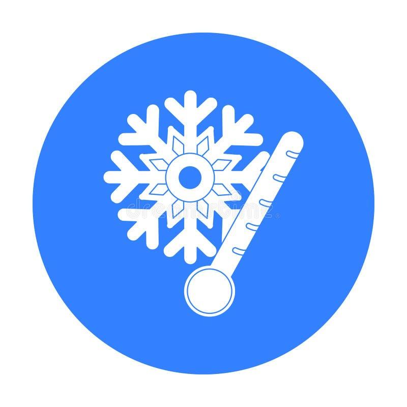 Mrozowa ikona w czerń stylu odizolowywającym na białym tle Pogodowego symbolu zapasu wektoru ilustracja royalty ilustracja