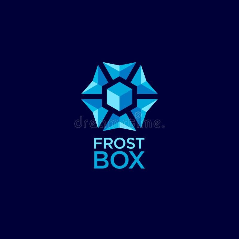 Mrozowy pudełkowaty logo dla zamarzniętego jedzenia Błękitny płatek śniegu geometrii emblemat, odizolowywający na ciemnym tle ilustracji