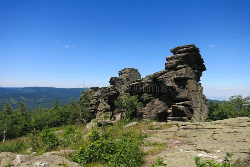 Mrozowy Scarp Obri w Jeseniky górach skaly, Czec (gigant skały) zdjęcia stock