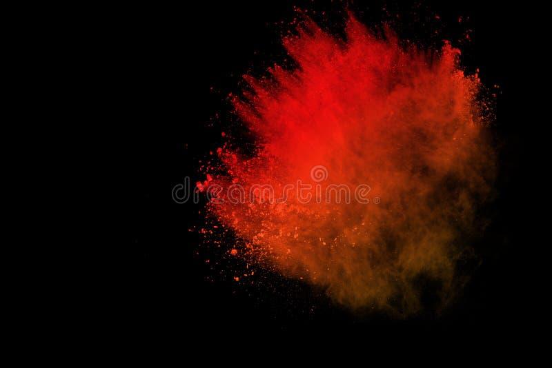 Mrozu ruch barwiony prochowy wybuch odizolowywający na czarnym tle Abstrakt splatted Multicolor pył obrazy royalty free