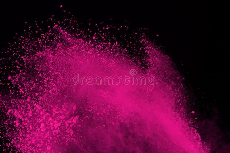 Mrozu ruch barwiony prochowy wybuch odizolowywający na czarnym tle Abstrakt splatted Multicolor pył ilustracja wektor