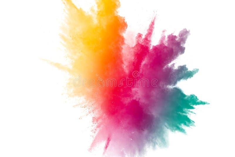 Mrozu ruch koloru proszka wybuch na białym tle zdjęcie royalty free
