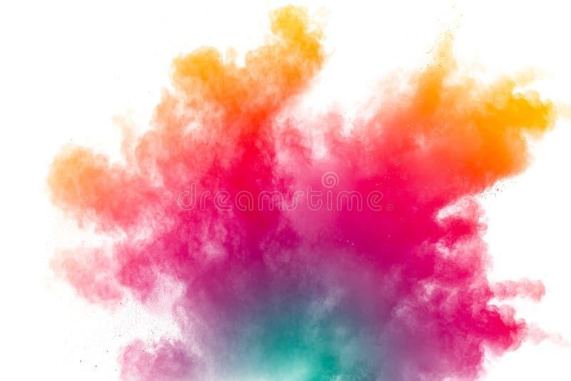 Mrozu ruch koloru proszka wybuch na białym tle fotografia stock