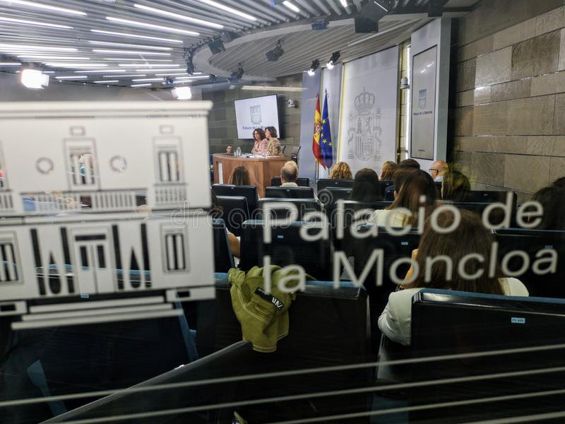 Mrs. Carmen Calvo Vice President and Minister of the Presidency of the Spanish State announces a new stock images