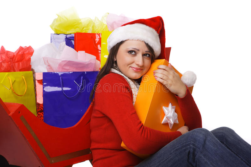 Download Mrs. Claus Holding Shopping Bags Stock Image - Image: 16879165