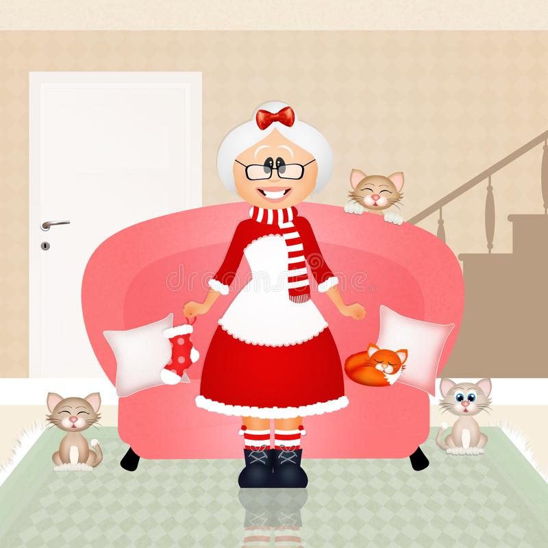 mrs claus santa royaltyfri illustrationer