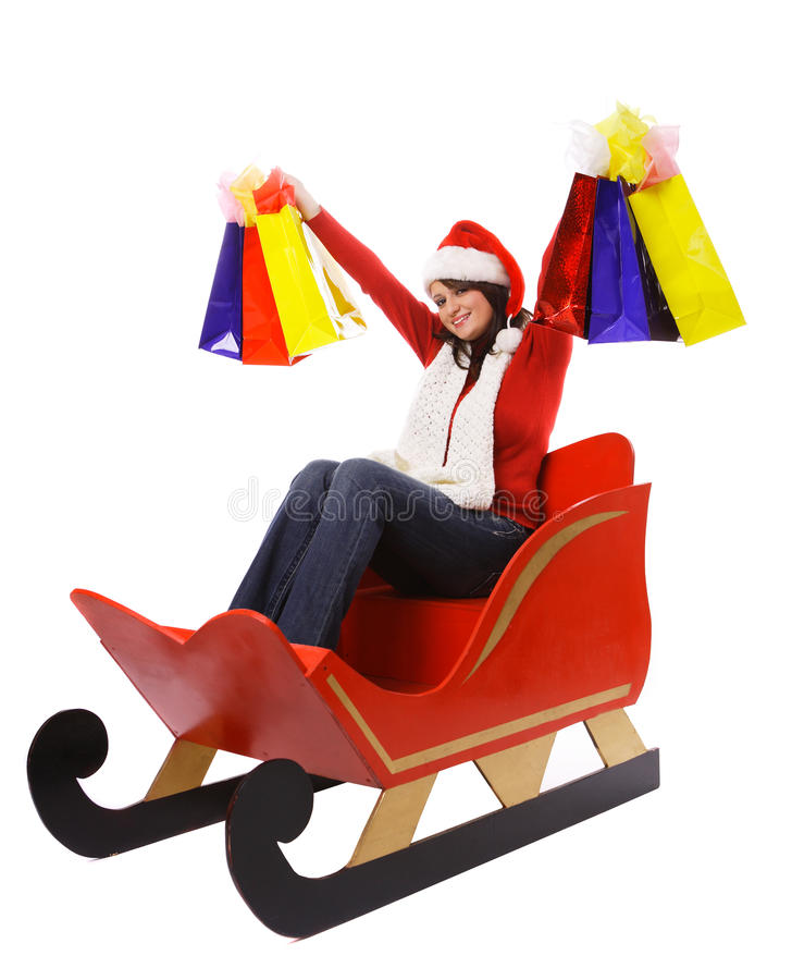 Download Mrs. Claus With Shopping Bags Royalty Free Stock Images - Image: 16879069