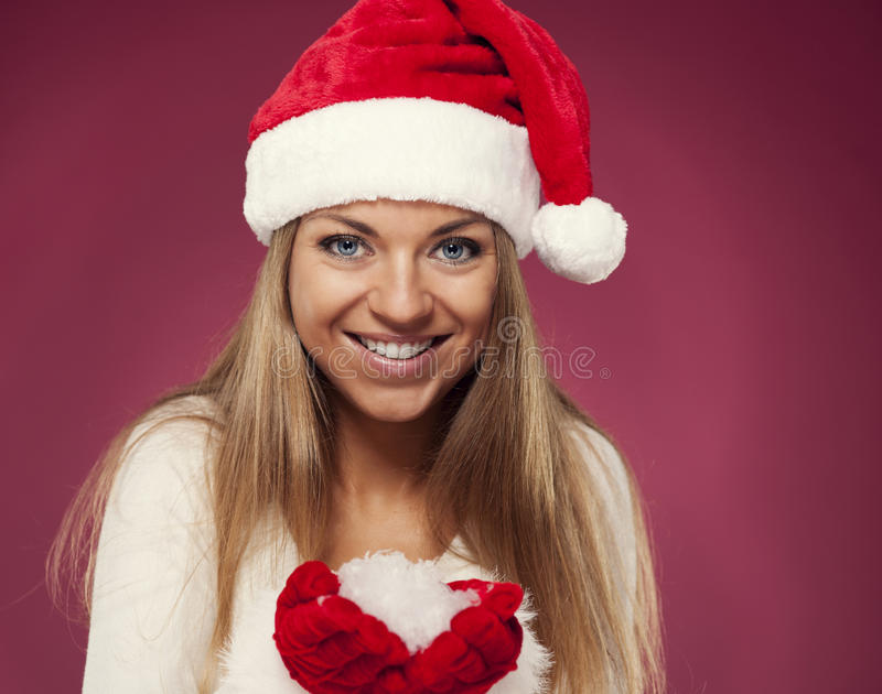 Download Mrs claus with snowflakes stock image. Image of flirting - 33128215