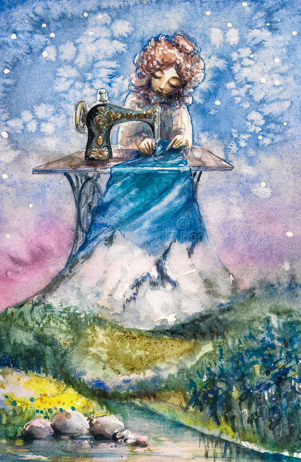 Mrs Nature. As seamstress working with her new textile.Picture created with watercolors stock illustration