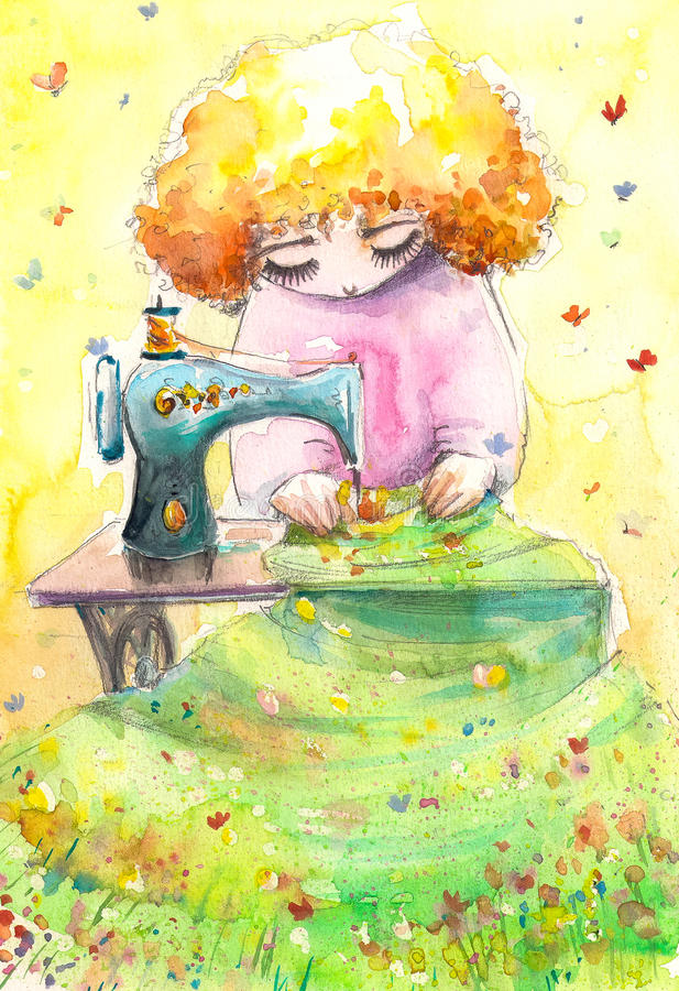 Mrs Nature. As seamstress working on her new textile. Picture created with watercolors royalty free illustration