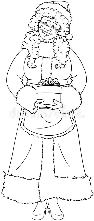 Mrs Santa Claus Holding A Present Coloring Page Stock ...