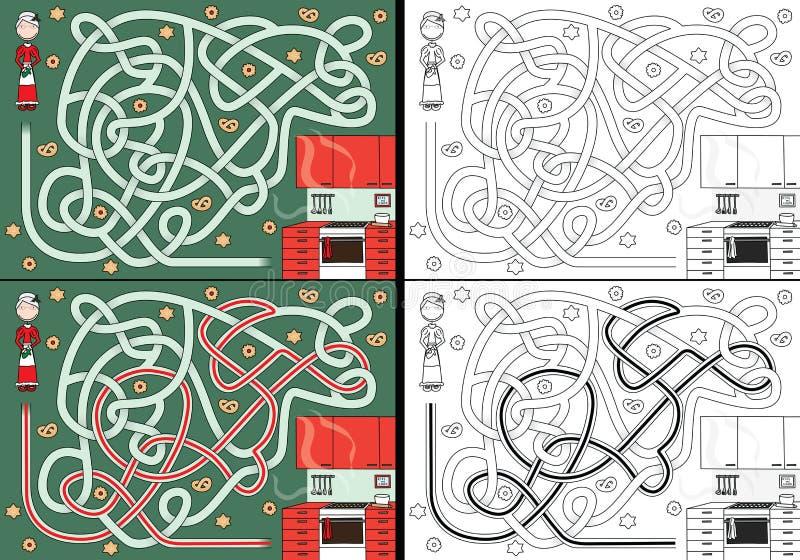 mrs Santa Claus-Labyrinth stock abbildung
