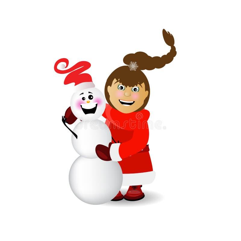 mrs Santa Claus med en snögubbe stock illustrationer