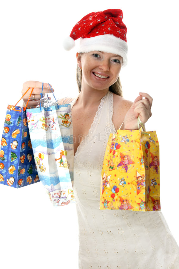 Mrs.Santa con i presente immagine stock libera da diritti