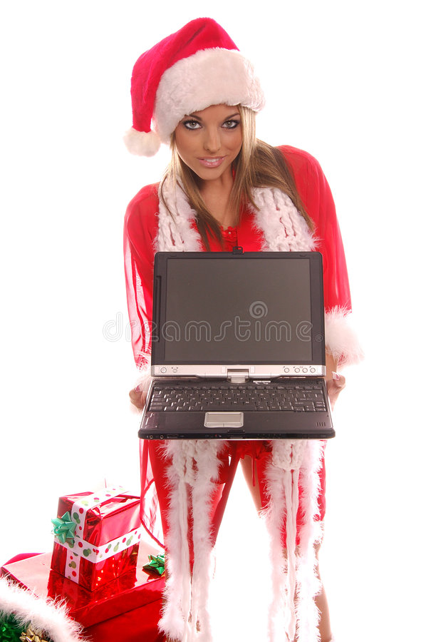 Mrs Santa Laptop stock photos