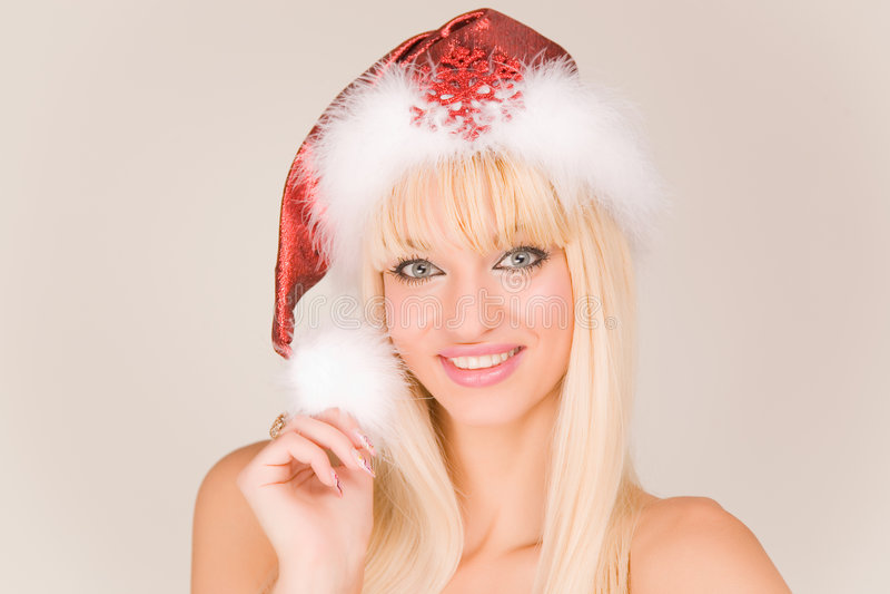 mrs santa sexy smiling στοκ εικόνα