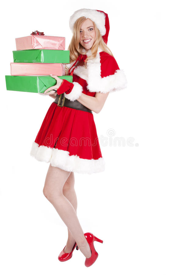 Download Mrs Santa Standing Presents Stock Image - Image: 16613371