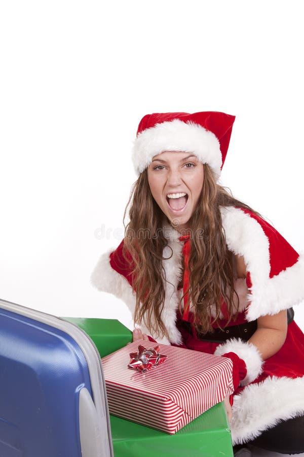 Mrs Santa suitcase presents happy