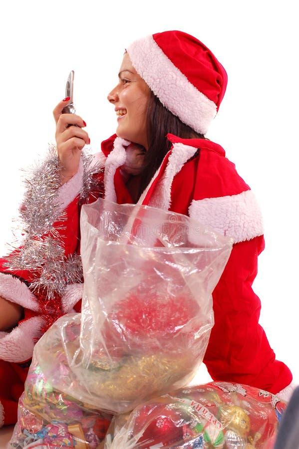 Mrs Weihnachtsmann stockfoto