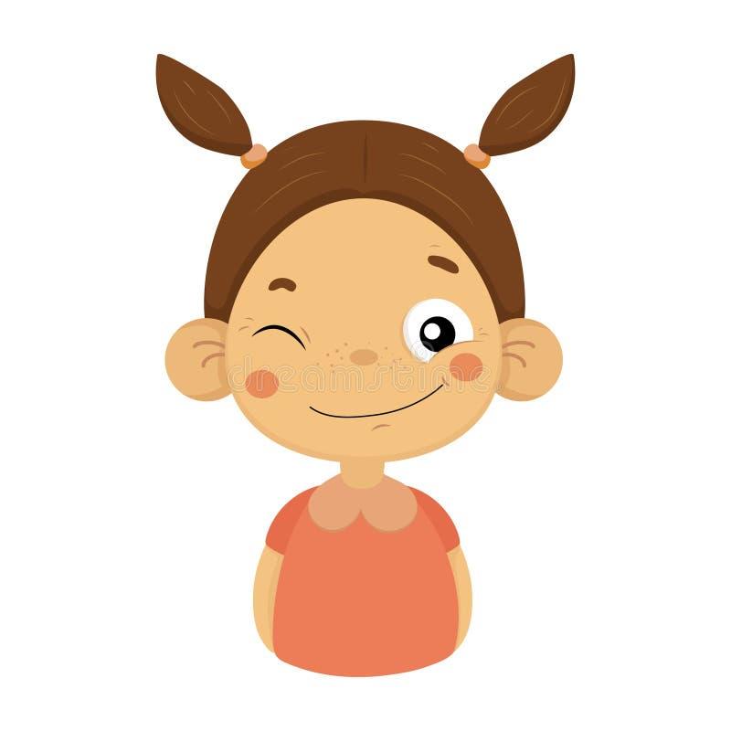 Mrugać I Uśmiechniętej małej dziewczynki kreskówki portreta Emoji Płaska ikona Z Emocjonalnym wyrazem twarzy royalty ilustracja