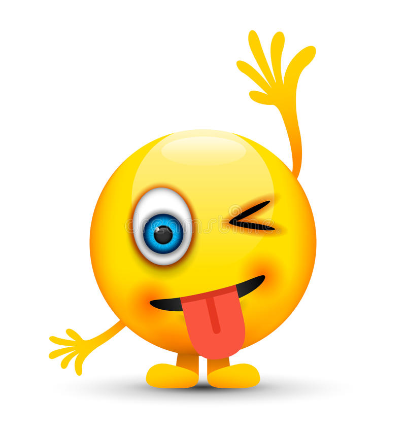 Mrugać jęzoru emoji out ilustracja wektor