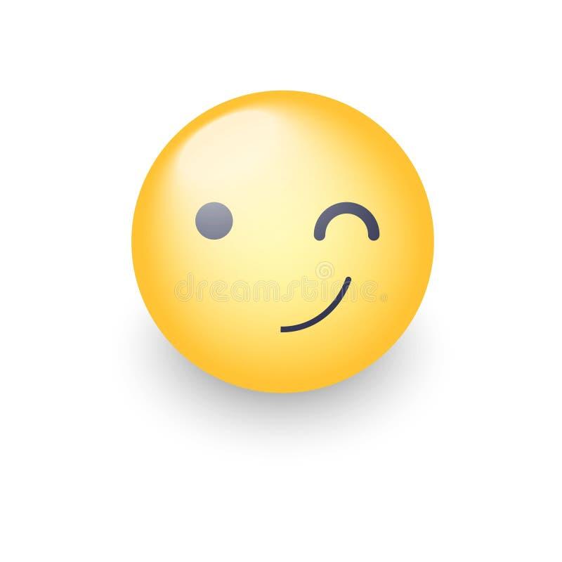 Mrugać zabawy kreskówki emoji twarz Mrugnięcia i uśmiechu szczęśliwy wektorowy emoticon royalty ilustracja