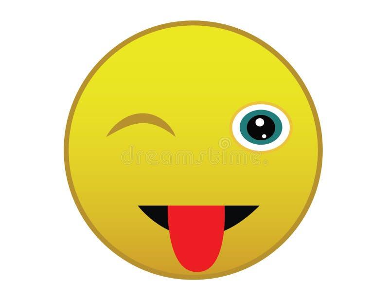 Mruga Smiley, Emoticon, ikona, emoji odizolowywający na białym tle stosownym dla sieci use ilustracja wektor