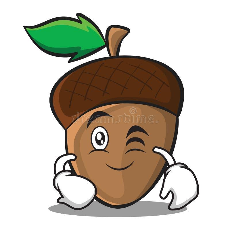 Mrugnięcia acorn postać z kreskówki styl ilustracji