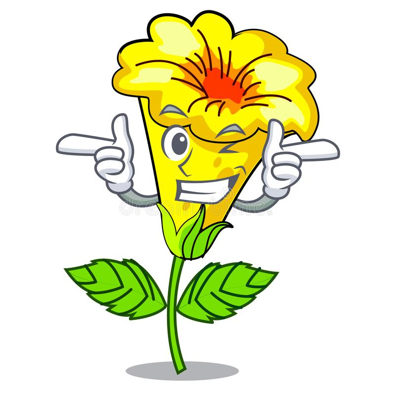 Mrugnięcia allamanda kwiatów kij charakteru trzon royalty ilustracja