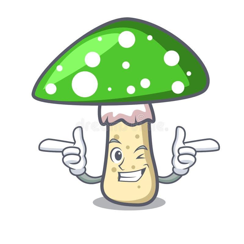 Mrugnięcia amanita pieczarki charakteru zielona kreskówka ilustracja wektor
