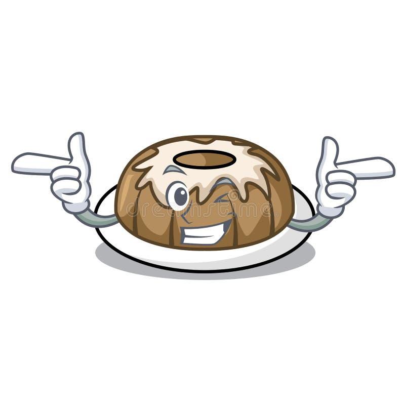 Mrugnięcia bundt torta charakteru kreskówka ilustracji