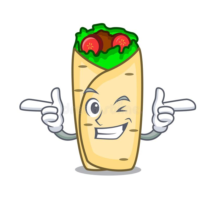 Mrugnięcia burrito charakteru kreskówki styl ilustracja wektor