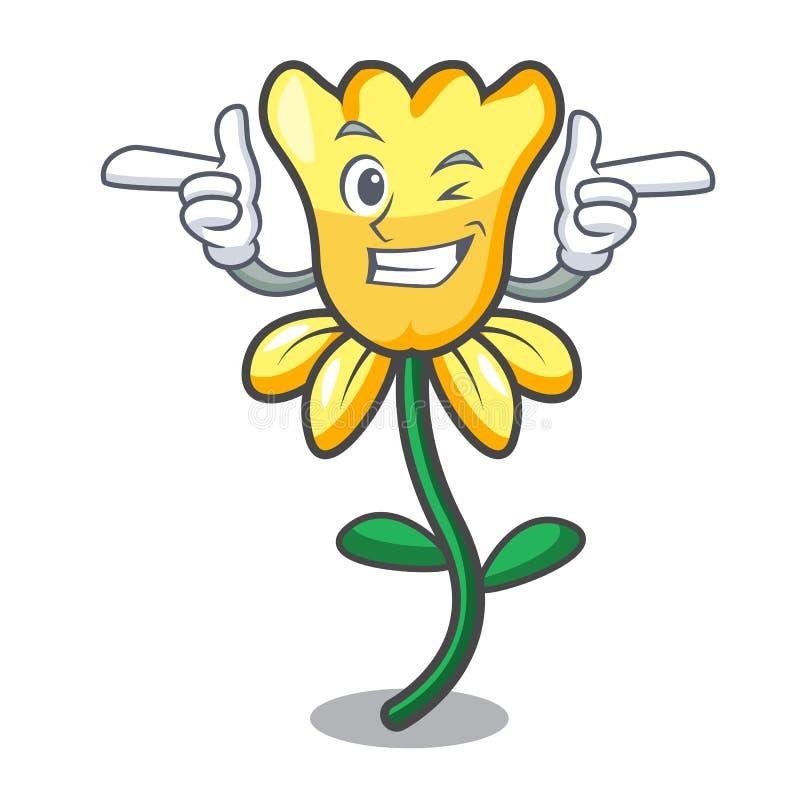 Mrugnięcia daffodil kwiatu charakteru kreskówka ilustracji