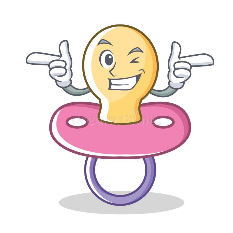Mrugnięcia dziecka pacyfikatoru charakteru kreskówka ilustracji