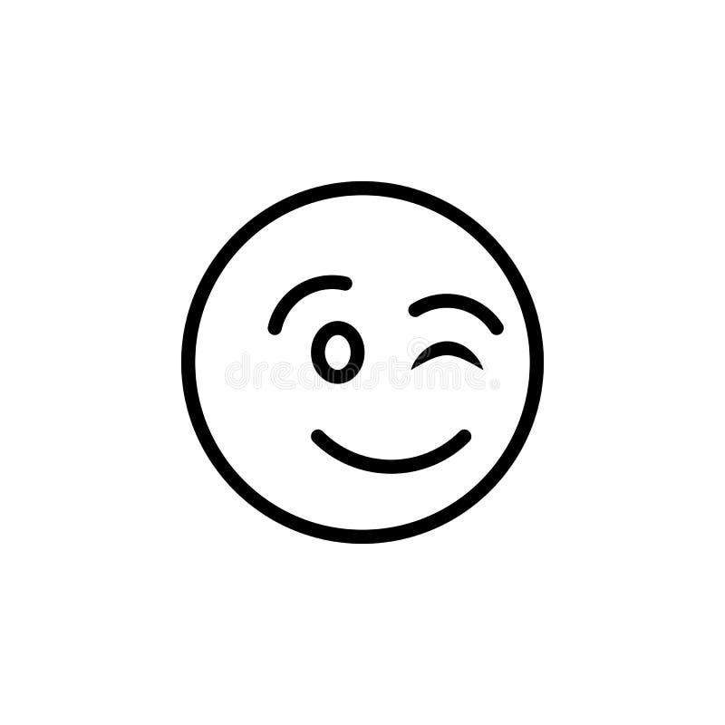 Mrugnięcia emoji konturu ikona Znaki i symbole mog? u?ywa? dla sieci, logo, mobilny app, UI, UX royalty ilustracja