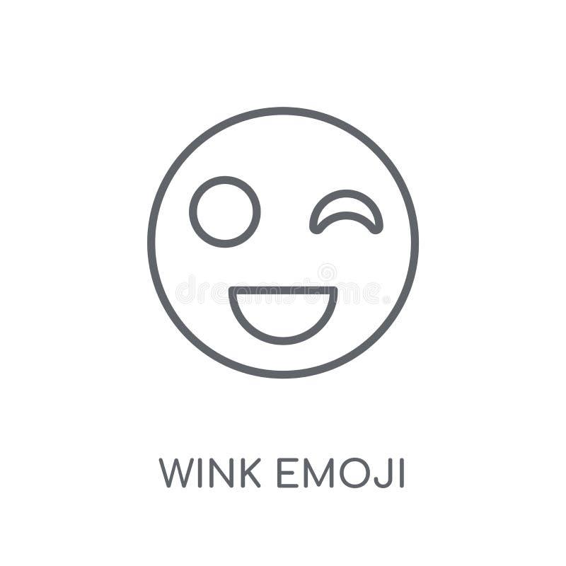 Mrugnięcia emoji liniowa ikona Nowożytny konturu mrugnięcia emoji logo pojęcie o royalty ilustracja