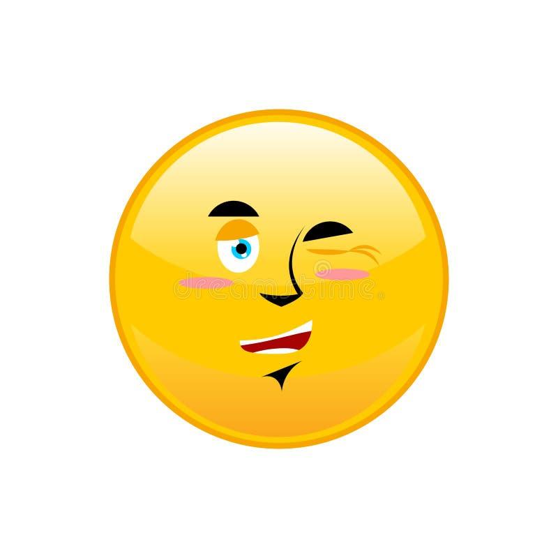 Mrugnięcia Emoji odizolowywali Szczęśliwa żółta okrąg emocja odizolowywająca ilustracji