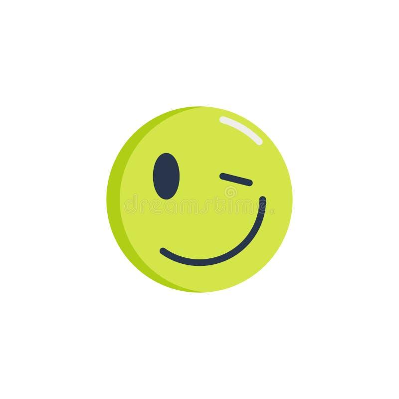 Mrugnięcia emoticon mieszkania ikona ilustracji