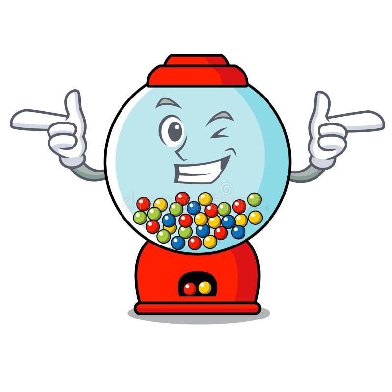 Mrugnięcia gumball charakteru maszynowa kreskówka ilustracja wektor
