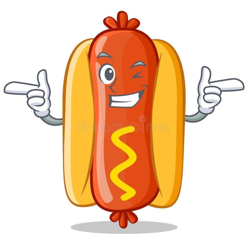 Mrugnięcia hot dog postać z kreskówki ilustracja wektor