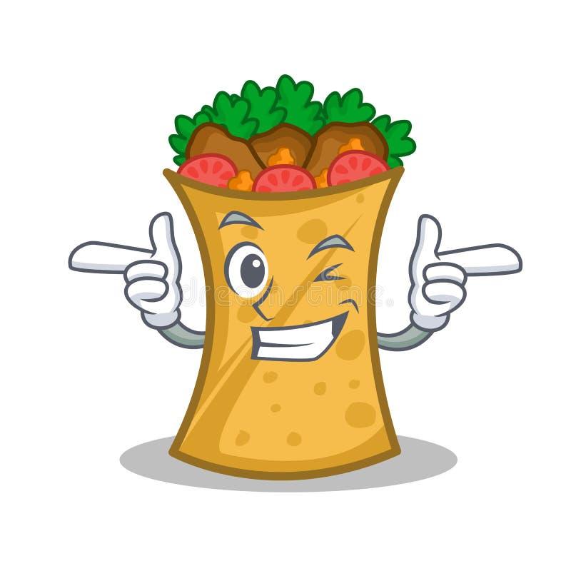 Mrugnięcia kebabu opakunku charakteru kreskówka royalty ilustracja