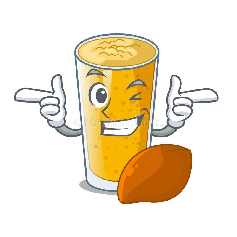 Mrugnięcia lassi mango w kreskówki butelce ilustracja wektor