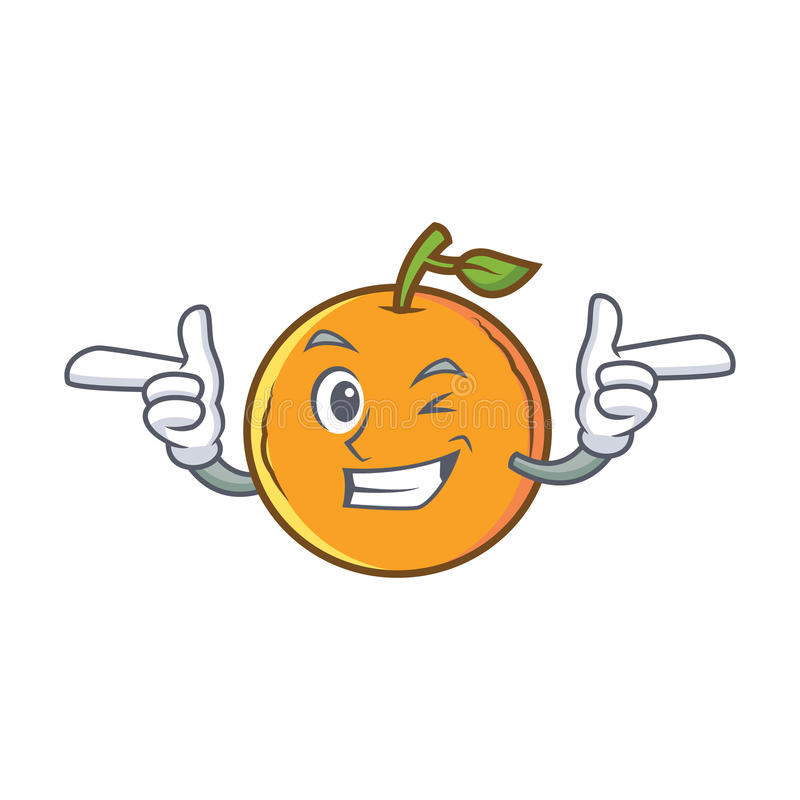 Mrugnięcia pomarańczowy owocowy postać z kreskówki ilustracja wektor
