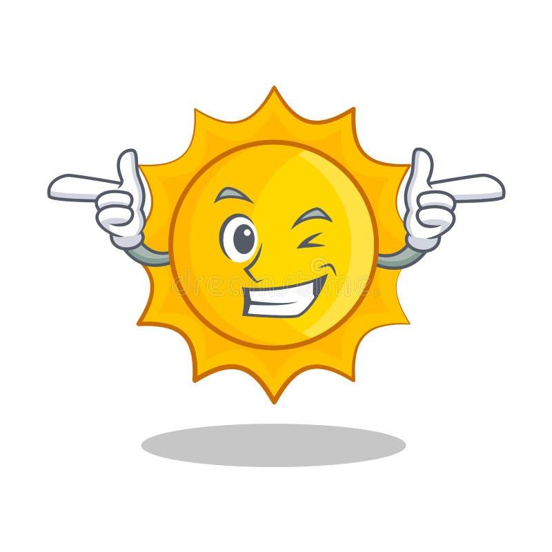 Mrugnięcia słońca charakteru śliczna kreskówka ilustracji