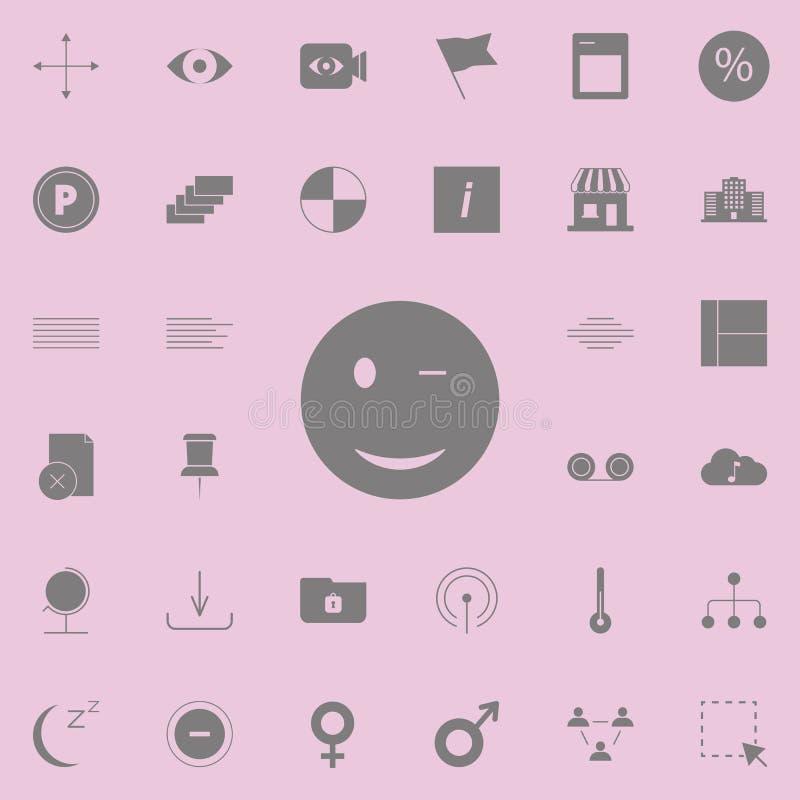 Mrugnięcia Smiley ikona sieci ikon ogólnoludzki ustawiający dla sieci i wiszącej ozdoby ilustracja wektor