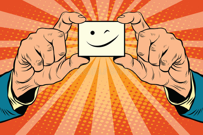 Mrugnięcia Smiley twarz w rękach ilustracji